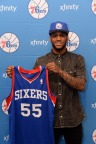 PHILADELPHIA, PA - JUNE 28:  Pierre Jackson #55 of the Philadelphia 76ers poses for a photo after being aquired by the Philadelphia 76ers at the Wells Fargo Center on June 28, 2014 in the Philadelphia, Pennsylvania. NOTE TO USER: User expressly acknowledges and agrees that, by downloading and/or using this photograph, user is consenting to the terms and conditions of the Getty Images License Agreement. Mandatory Copyright Notice: Copyright 2014 NBAE (Photo by Jennifer Pottheiser/NBAE via Getty Images)