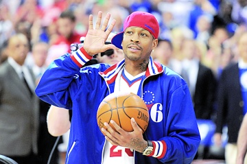 PHILADELPHIA, PA - MAY 23: Former Philadelphia 76ers player Allen Iverson walks onto the court to deliver the game ball before the game against the Boston Celtics in Game Six of the Eastern Conference Semifinals in the 2012 NBA Playoffs at the Wells Fargo Center on May 23, 2012 in Philadelphia, Pennsylvania. NOTE TO USER: User expressly acknowledges and agrees that, by downloading and or using this photograph, User is consenting to the terms and conditions of the Getty Images License Agreement. (Photo by Drew Hallowell/Getty Images)