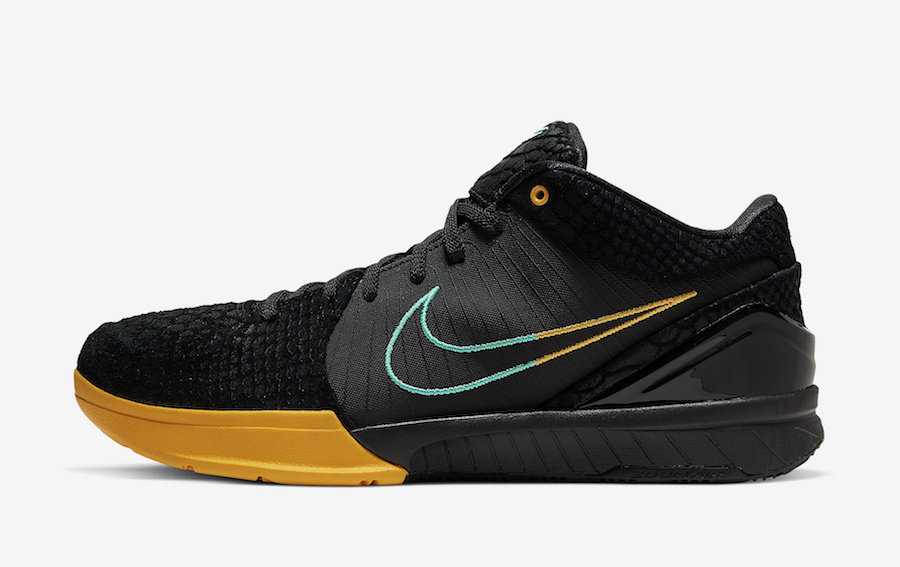 Nike-Zoom-Kobe-4-Protro-Black-Snake-Aurora-Green-University-Gold-AV6339-002-Release-Date