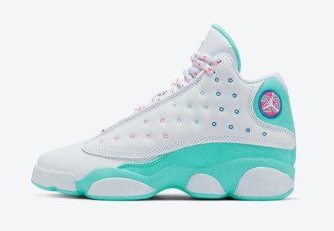 Air-Jordan-13-GS-Aurora-Green-Digital-Pink-Release-Date-439358-100